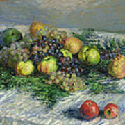 Still Life With Pears And Grapes Poster
