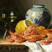 Still Life With Prawns And Lemon Poster