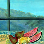 Still Life With Watermelon Oil & Acrylic On Canvas Poster