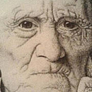 Stippling Of An Old Man Poster by Lisa Marie Szkolnik