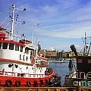 Stockholm Harbor Ships Poster