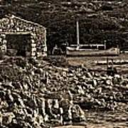 Roman Port Of Sa Nitja In Minorca - Stone And Sea Sephia Version Poster