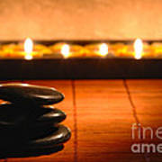 Stone Cairn And Candles For Quiet Meditation Poster
