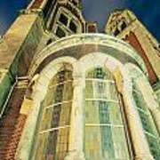 Stone Church Exterior Facade Windows At Night Poster