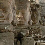 Stone Figures Cambodia Poster