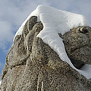 Stone Lion Covered With Snow Poster