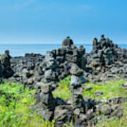 Stone Walls Made By Tourists Poster