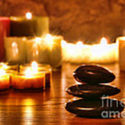 Stones Cairn And Candles Poster