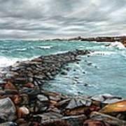 Storm In Rockport Harbor Poster