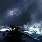 Storm On Long's Peak Poster by Ric Soulen