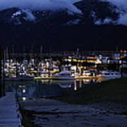 Stormy Boat Harbor Poster