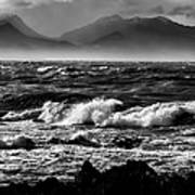 Stormy Coast New Zealand In Black And White Poster