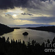 Stormy Emerald Bay Poster