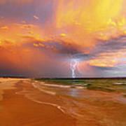Stormy Skies - Lightning Storm In Esperance Poster by Sally Nevin