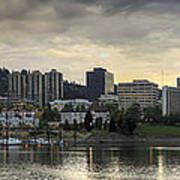 Stormy Sky Over Portland Skyline Panorama Poster