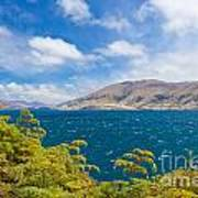 Stormy Surface Of Lake Wanaka In Central Otago On South Island Of New Zealand Poster