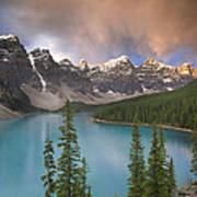 Stormy Weather Over Moraine Lake Poster
