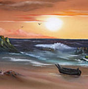 Stranded At Sunset Poster by Cynthia Adams