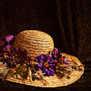 Straw Hat And Flowers Poster