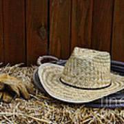 Straw Hat  On  Hay Poster