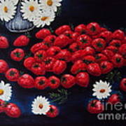 Strawberries And Daisies Original Painting Oil On Canvas Poster by Drinka Mercep