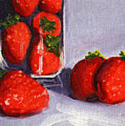 Strawberries And Glass Poster