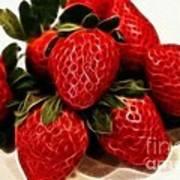 Strawberries Expressive Brushstrokes Poster