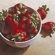 Strawberries In China Dish Poster by Timothy Jones