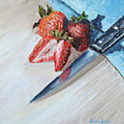 Strawberries With Knife Poster