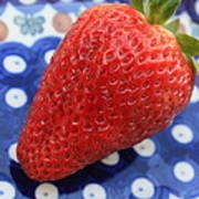 Strawberry On Blue Plate Poster