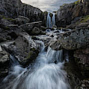 Stream Flows Over A Waterfall Poster