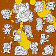 Street Art Doodle Creatures Urban Art Poster by Frank Ramspott