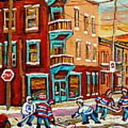 Street Hockey Practice Wilensky's Diner Montreal Winter Street Scenes Paintings Carole Spandau Poster