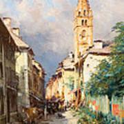 Street In Barcelonette Poster by Charles Alexandre Bertier