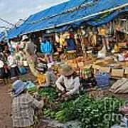 Street Market In Siem Reap Poster by Sami Sarkis