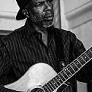 Street Musician Black And White Poster