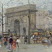 Street Scene In Paris Poster by Eugene Galien-Laloue