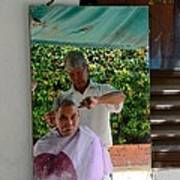 Street Side Barber Cuts Client Hair Singapore Poster