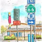 Street Signs In Route 66, San Bernardino, California Poster