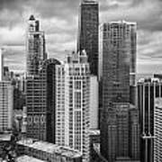 Streeterville From Above Black And White Poster