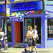 Strolling By The Blue Boy Frozen Yogurt Glacee Cafe Plateau Mont Royal City Scene Carole Spandau   Poster