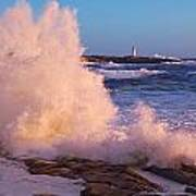 Strong Winds Blow Waves Onto Rocks Poster
