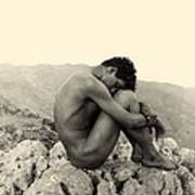 Study Of A Male Nude On A Rock In Taormina Sicily Poster