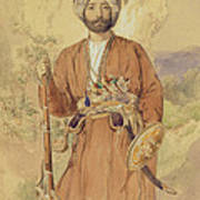 Study Of An Afghan Warrior, Tehran, 1848 Poster