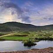 Stunning Sunrise Panorama Landscape Of Heather With Mountain Lak Poster