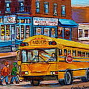 St.viateur Bagel And School Bus Montreal Urban City Scene Poster
