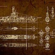 Submarine Blueprint Vintage On Distressed Worn Parchment Poster