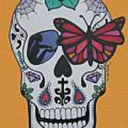 Sugar Candy Skull Orange Poster