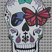 Sugar Candy Skull Pattern Poster