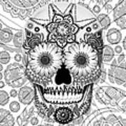 Sugar Skull Bleached Bones - Copyrighted Poster by Christopher Beikmann